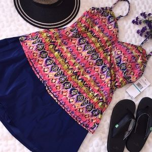 Jantzen Aztec Print 2PC Tankini Skirt Swimsuit NEW